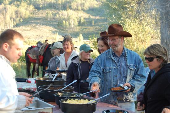 Goosewing Ranch: Cowboy cookout after a fun day