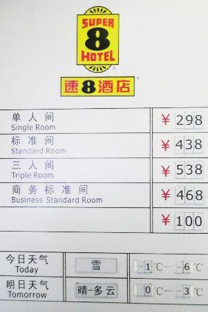 Super 8 Beijing Jinbao Street: Zimmerpreise vom 05. Januar 2012
