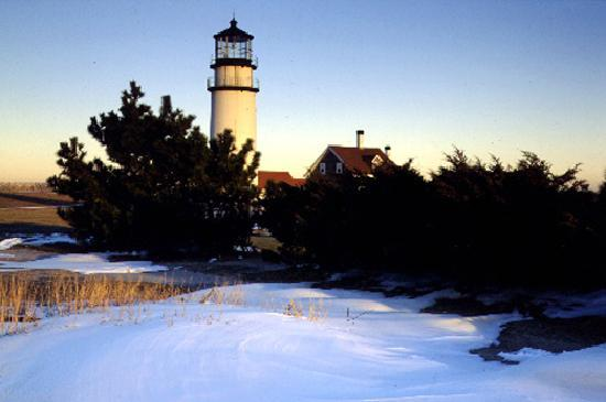 Massachusetts: Snowy Lighthouse on Cape Cod