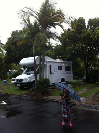 Gateway Lifestyle Maroochy: I backed this RV in myself (with help from the reverse camera) whilst Rhiannon watched a DVD!  T