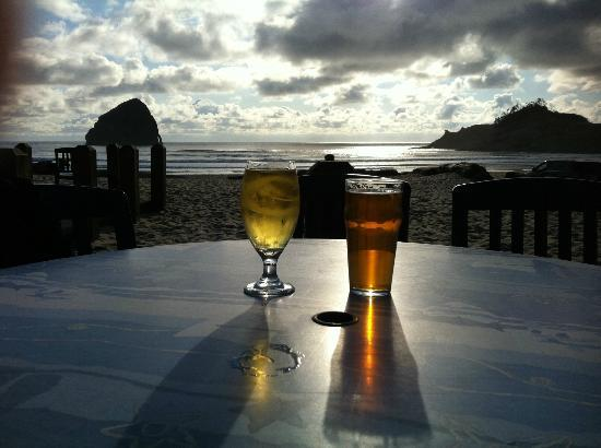 on the patio at Inn at Cape Kiwanda. all you need to see!