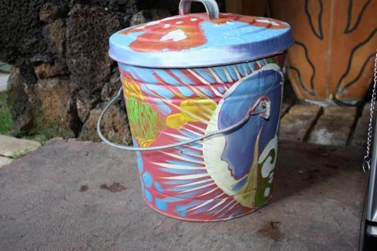 Hanalei Surfboard House: funky garbage can....a great example of the tiny treasures Simon has around The Surfboard House