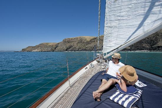 Kangaroo Island Sailing: Relaxing on the front deck with champagne