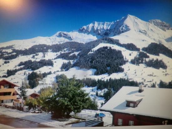 Hotel Hari im Schlegeli: Blick vom Hotelzimmer / Balkon auf die Adlebodner Berge