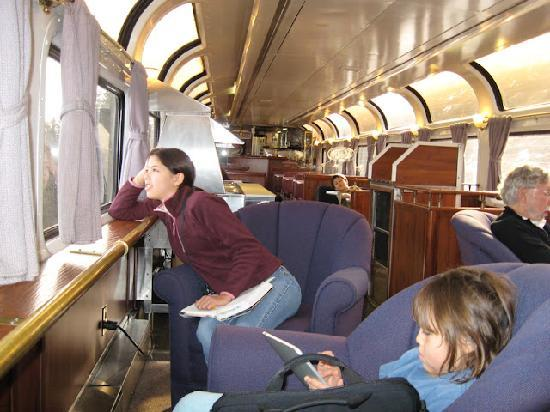 Coast Starlight: In the Pacific Parlour Car, watching the scenery roll by.