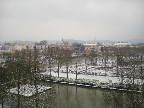View over the water gardens with a dusting of snow