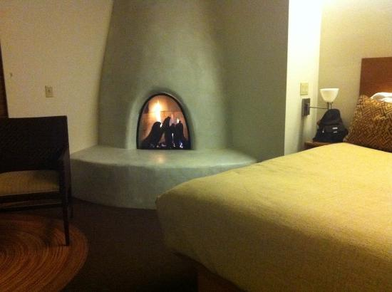 Mii amo, a destination spa: gas fireplace in our room