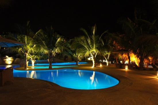 Swahili Beach Resort: Night Lights at the pools