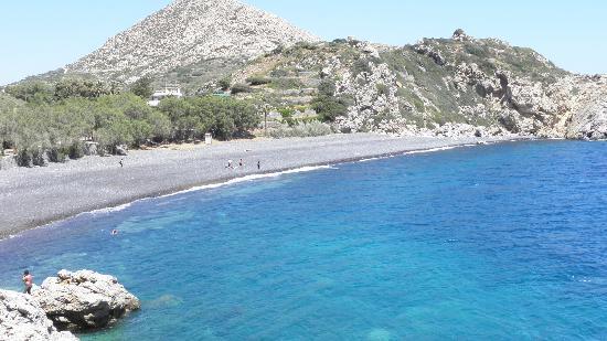 Chios, กรีซ: den første stranda du kommer til, bildet tatt fra haugen i mellom strendene