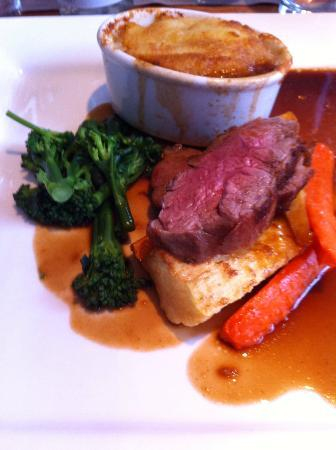 The Angel Inn: Roasted rump of  lamb, mini shepherd's pie, honey-roasted carrots and parsnips, rosemary sauce