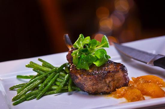 Woodfire Grille at Diamond Jo Casino: Berkshire Pork Chop with Peach Compote
