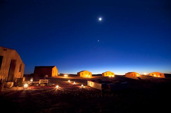 At night at the bivouac La Dune Blanche.