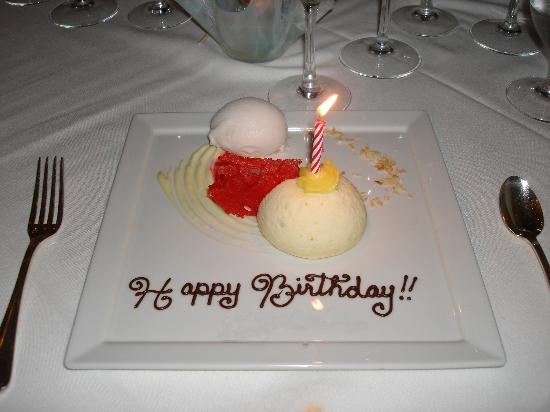 Gallery Restaurant at The Ballantyne Hotel: Birthday plate!