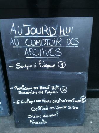 Menu du jour picture of le comptoir des archives paris for Le comptoir du meuble bruxelles