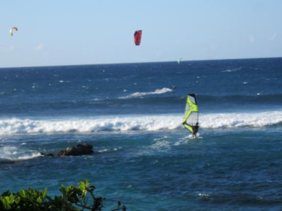 Paia, HI: Wind and Kite Surfers at Ho'okipa Beach Park