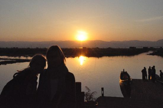 Villa Inle Resort & Spa: view from the restaurant terrace at sunset