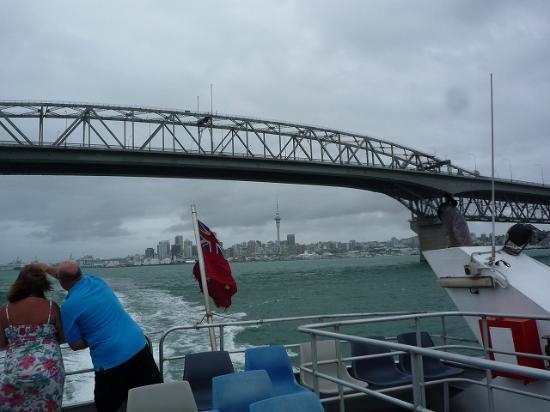 Pont du port d'Auckland : 橋の向こう側にスカイタワーが見えました。