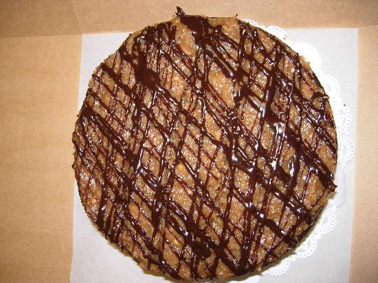 Top view of Cafe Latte's German Chocolate cake