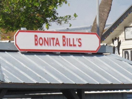 Bonita Bill's Waterfront Cafe : Bonita Bill's sign above one of the back decks