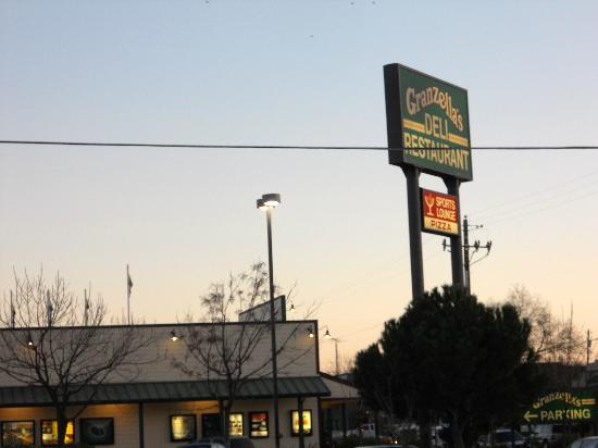 Granzella's Inn: As seen from Inn, associated restaurant and deli is just across parking lot.