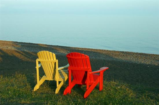 Chairs on the beach, Naniboujou Lodge