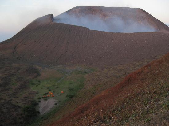 Quetzaltrekkers - Day Tours: Our campsite beneath Telica's crater