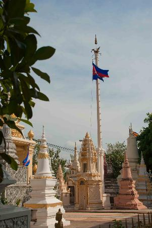 Temple of the Lotus Blossoms: The Cambodian flag flying over these lovely little structures