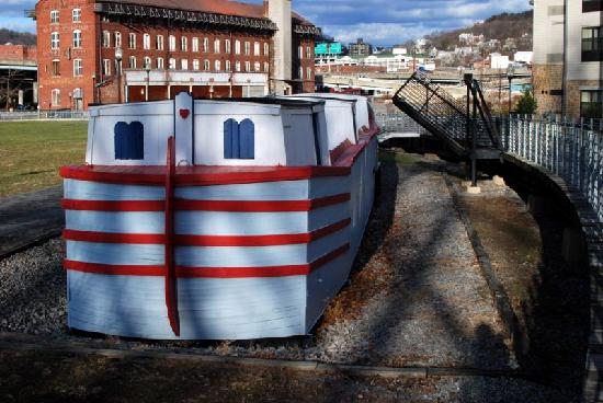 "Fairfield Inn & Suites Cumberland: ""The Cumberland"" canal boat replica, directly behind hotel"