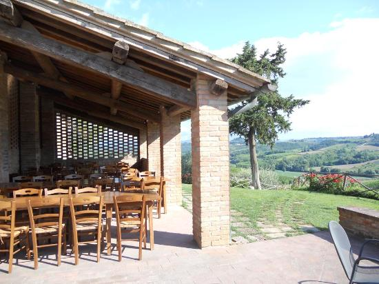 Fattoria Poggio Alloro: Outdoor eating area where dinners are served family style