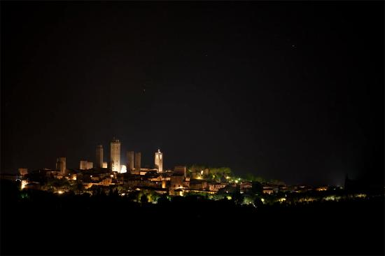 Fattoria Poggio Alloro: View of San Gimignano at night