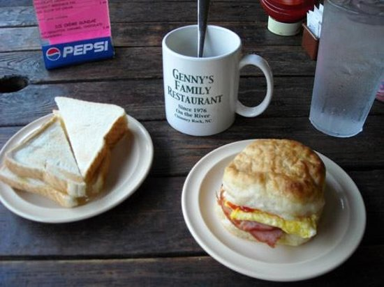 My home-made breakfast at Genny's Restaurant in Chimney Rock, North Carolina