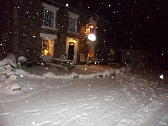 Strathmore Arms at Holwick: Outside the pub/ B&B in the snow.