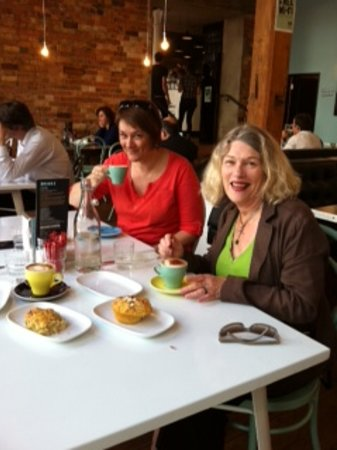 Zest Food Tours of Auckland: Guests on our Auckland City Tastes tour enjoying a coffee
