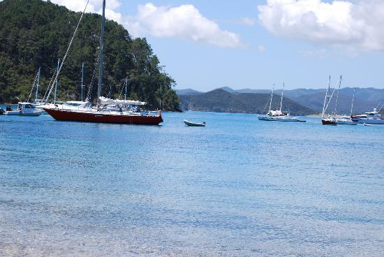 Phantom Sailing: 'Phantom' moored in  Two Lagoon Bay for lunch