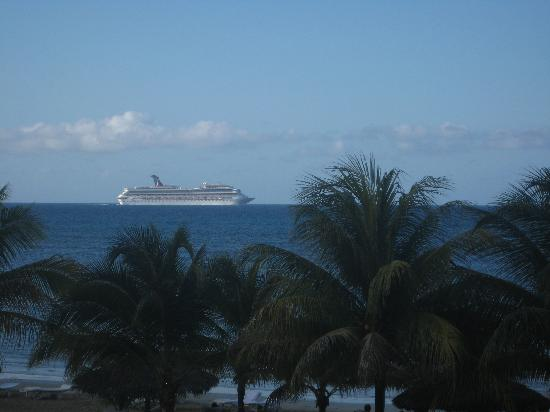 Couples Sans Souci: a few cruise ships passed by