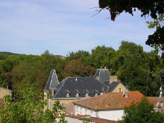 Château de Saint Michel de Lanès: les toits vus du jardin de la vierge