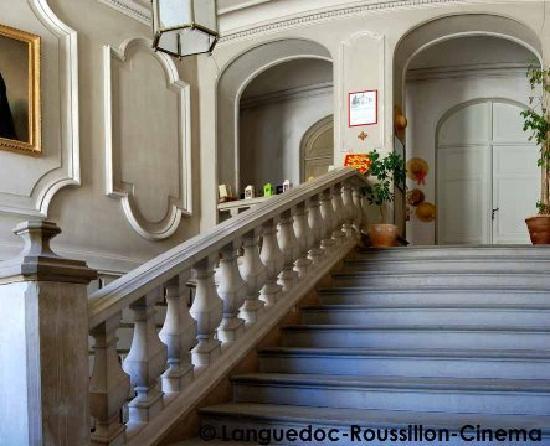 Chateau de Saint Michel de Lanes: Escalier en pierre, grès et pierre des charentes.