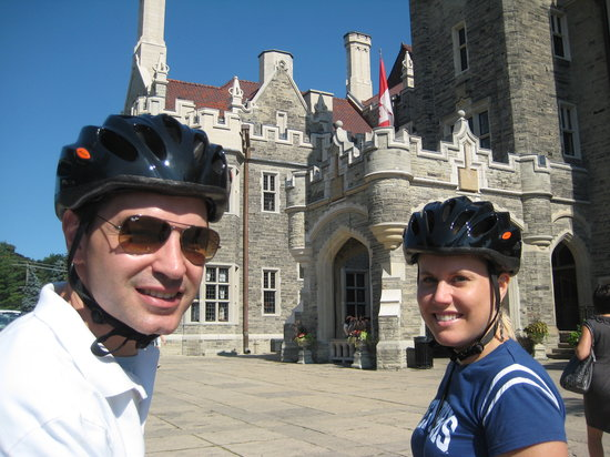 Toronto Bicycle Tours : Getting a closer look at Toronto's only castle during a midtown Toronto bicycle tour