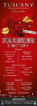 Tuscany Bistro Castletroy: Valentine's Menu 2012