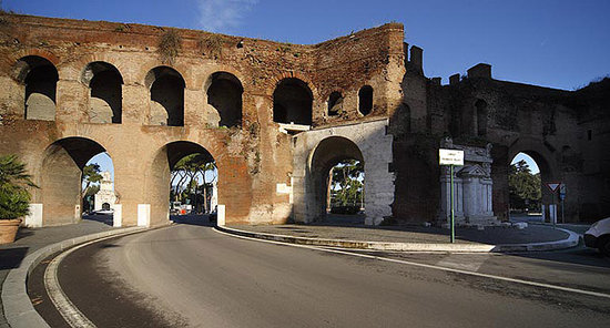 Porta Pinciana (the Aurelian Wall)  just behind the Hotel Golden Rome