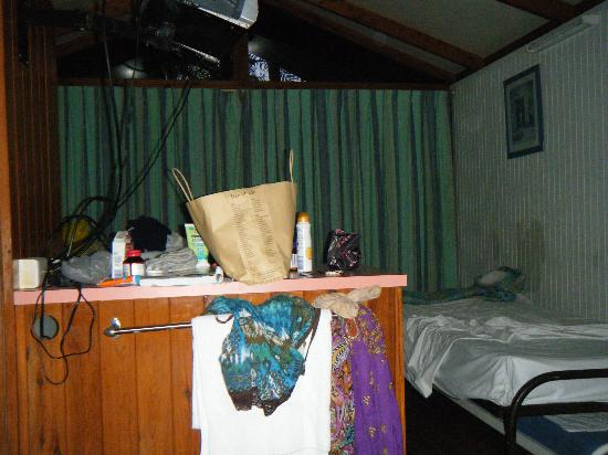 Cairns Villa and Leisure Park: looking from my bed to the front door. See the peeling walls on the right?