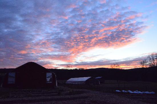 Inn at Valley Farms: Winter sunrise over the farm