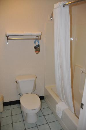 Quality Inn Sarasota/Siesta Key : Separate bath/toilet - with Waterpic and safety rail