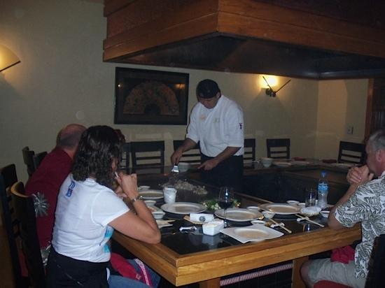 Mikado: The Chef is preparing the meal combined with a show