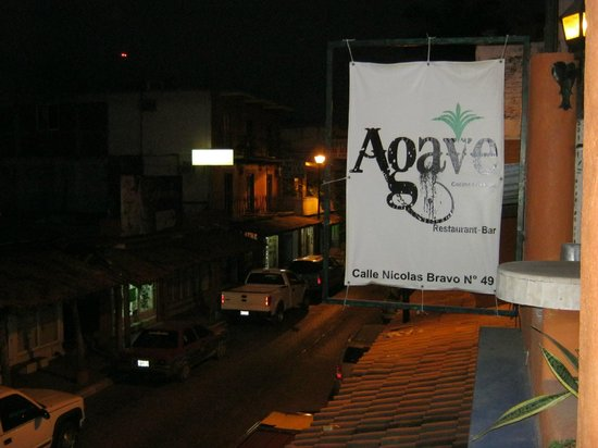 El Agave: sign from street, the restaurant is across from d'angelos Italian restaurant