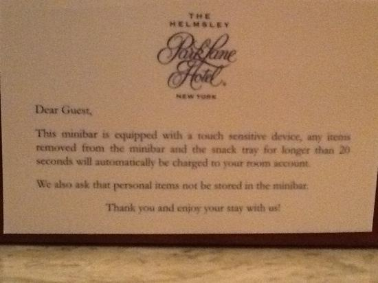 The Park Room at The Helmsley Park Lane Hotel: mini bar regulation
