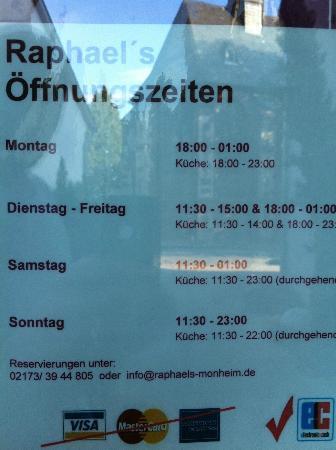 Raphael's Restaurant und Weinbar: Öffnungszeiten