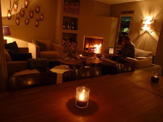 Arena Lodge: The log fire lounge at night
