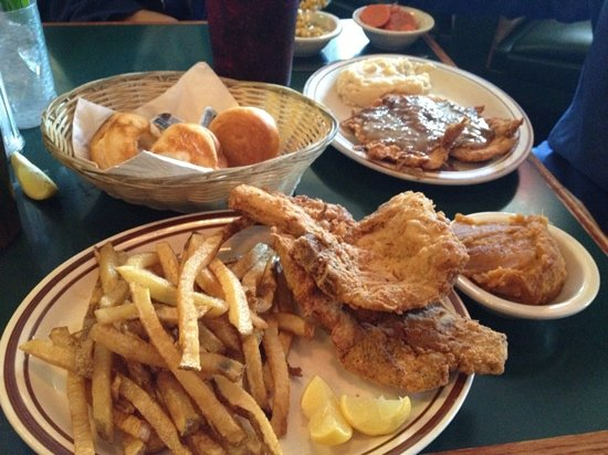 Po Melvin S Down Home Cookin Fried Pork Chops With Fries And Yams And Chicken