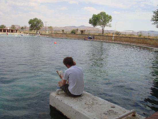 Balmorhea State Park: Reading by the Balmorhea's big pool